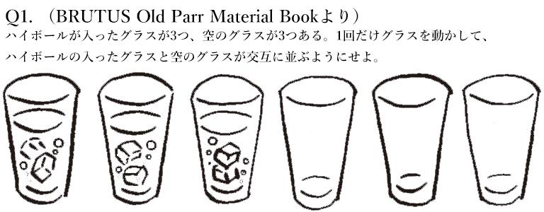 ハイボールが入ったグラスが3つ、空のグラスが3つある。1回だけグラスを動かして、 ハイボールの入ったグラスと空のグラスが交互に並ぶようにせよ。