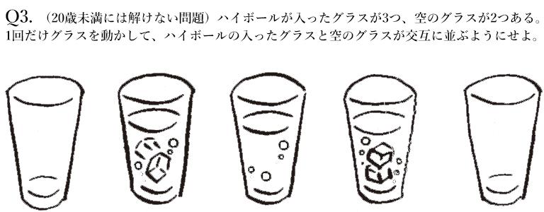 (20歳未満には解けない問題)ハイボールが入ったグラスが3つ、空のグラスが2つある。 1回だけグラスを動かして、ハイボールの入ったグラスと空のグラスが交互に並ぶようにせよ。